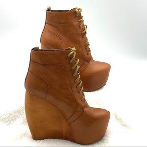 Zigi Girl Tan Leather Infinite Wedge Bootie Sz 8